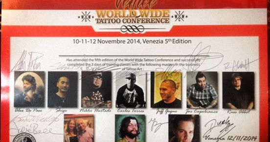 World Wide Tattoo Conference - Attestato