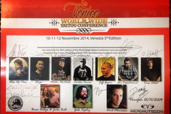 Attestato World Wide Tattoo Conference